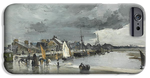 Sailing iPhone Cases - Harbour at St. Vaast The Hague iPhone Case by Frank Myers Boggs