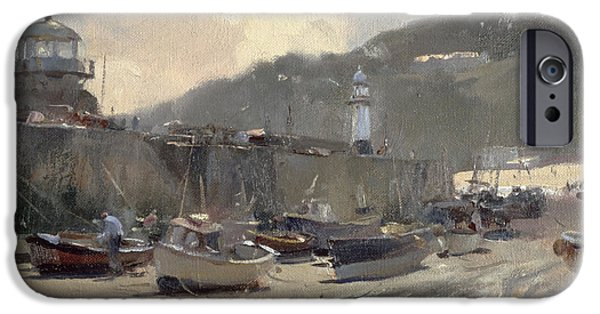 Lighthouse iPhone Cases - Harbour Light, St. Ives Oil On Canvas iPhone Case by Trevor Chamberlain