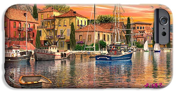 Row Boat Digital iPhone Cases - Harbour Sunset iPhone Case by Dominic Davison