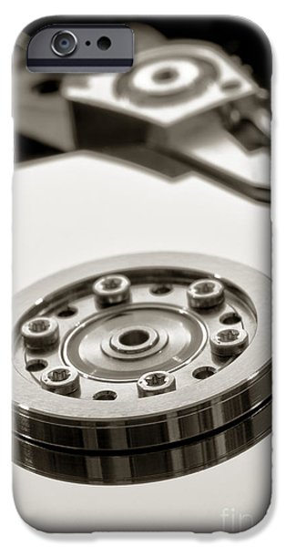 Data Photographs iPhone Cases - Hard Drive iPhone Case by Olivier Le Queinec