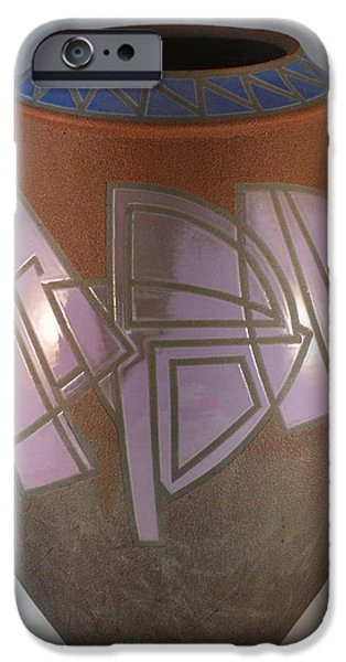 Earth Tone Ceramics iPhone Cases - Hard Edge Orchid and Azure iPhone Case by Chris Tennis