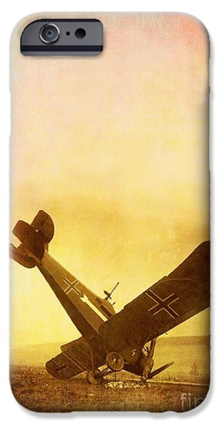 World War One Photographs iPhone Cases - Hard Landing iPhone Case by Edward Fielding