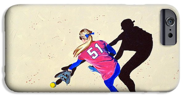 Softball Paintings iPhone Cases - Hard to the Right iPhone Case by Darrell Sheppard