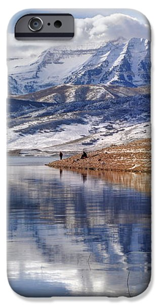Hardy Fishermen Deer Creek Reservoir and Timpanogos in Winter iPhone Case by Gary Whitton