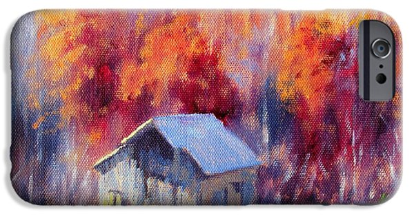 Old Barn iPhone Cases - Hardy Road Barn- In Autumn iPhone Case by Bonnie Mason