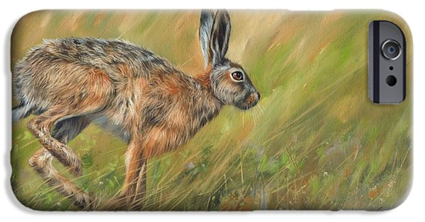 David iPhone Cases - Hare iPhone Case by David Stribbling
