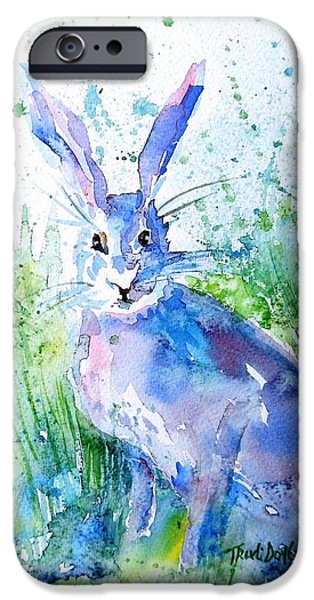 Mad Hare iPhone Cases - Hare Stare iPhone Case by Trudi Doyle