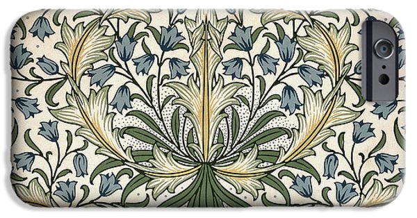 Wallpaper Tapestries - Textiles iPhone Cases - Harebell Design 1911 iPhone Case by William Morris