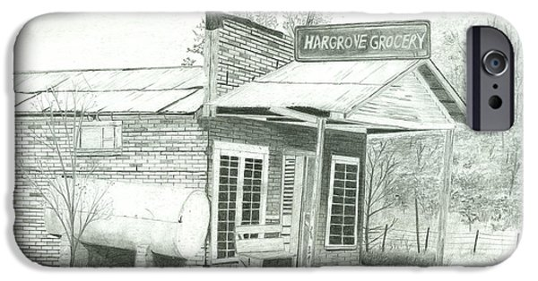 Arkansas Drawings iPhone Cases - Hargrove Grocery iPhone Case by Larry Hartfield