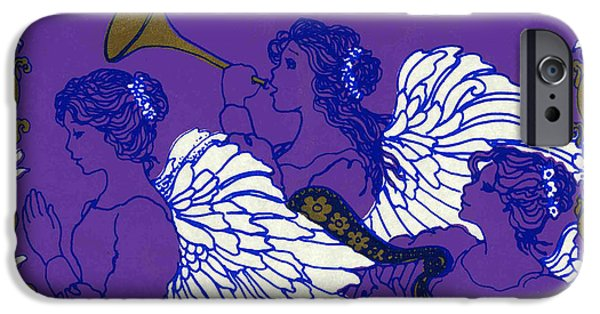 Music Drawings iPhone Cases - Hark the Herald Angels Sing iPhone Case by Kimberly McSparran