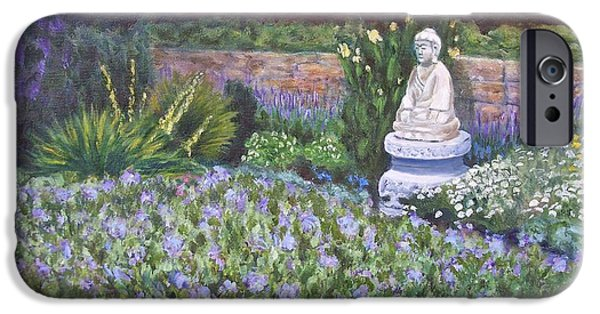 Contemplative Paintings iPhone Cases - Harkness Memorial Park Buddha Garden Waterford CT iPhone Case by Patty Kay Hall