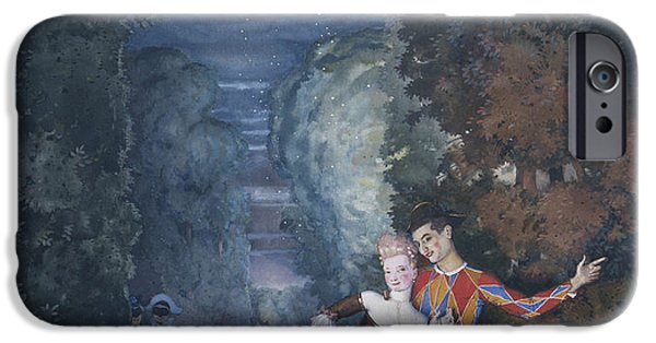 Dells iPhone Cases - Harlequin and a Lady iPhone Case by Konstantin Andreevic Somov