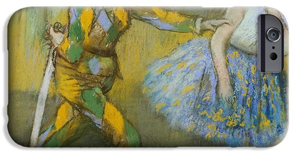 19th Century iPhone Cases - Harlequin and Columbine iPhone Case by Edgar Degas