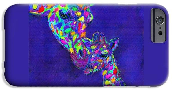 Giraffe Digital iPhone Cases - Harlequin giraffes iPhone Case by Jane Schnetlage