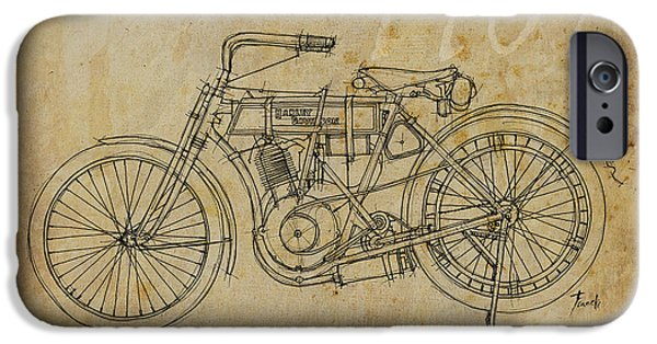 Ink On Paper iPhone Cases - Harley Davidson 1907 iPhone Case by Pablo Franchi