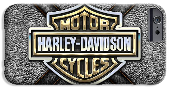 Art Decor iPhone Cases - Harley-Davidson 3D Badge-Logo in Gold on Black Leather iPhone Case by Serge Averbukh