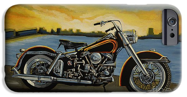 Style Paintings iPhone Cases - Harley Davidson Duo Glide iPhone Case by Paul Meijering