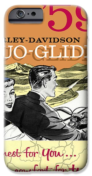 Glides iPhone Cases - Harley Davidson Duo-Glides 59 iPhone Case by Mark Rogan