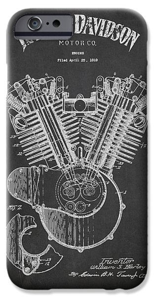Technical iPhone Cases - Harley Davidson Engine Patent Drawing From 1919 - Dark iPhone Case by Aged Pixel
