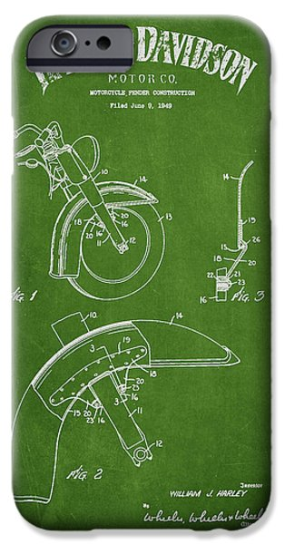 Harley Davidson Fender Construction Patent Drawing From 1949 - Green iPhone Case by Aged Pixel