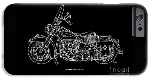 Transportation Pastels iPhone Cases - Harley Davidson FL 1952 iPhone Case by Pablo Franchi