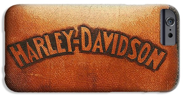 Close Up Mixed Media iPhone Cases - Harley Davidson Leather Tool Bag  iPhone Case by Stefano Senise