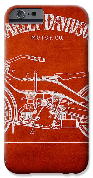 Harley Davidson Motorcycle Patent Drawing From 1924 iPhone Case by Aged Pixel