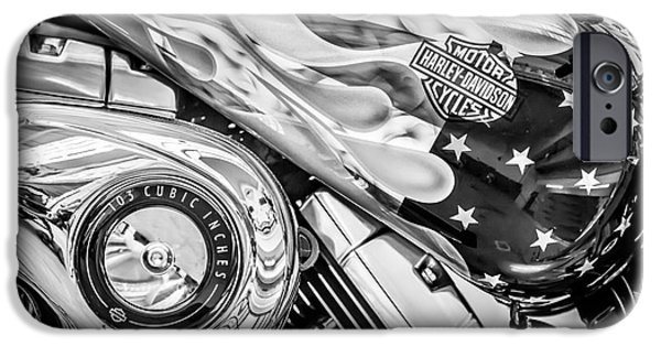 Old Glory iPhone Cases - Harley Davidson Motorcycle Stars and Stripes Fuel Tank - Black and White iPhone Case by Ian Monk