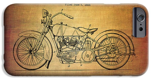 Machinery Mixed Media iPhone Cases - Harley Davidson patent from 1928 iPhone Case by Eti Reid