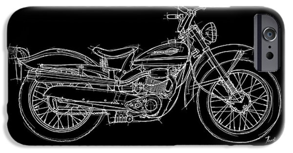 Transportation Pastels iPhone Cases - Harley Davidson Scat 165 1963 iPhone Case by Pablo Franchi