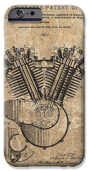 Technology Drawings iPhone Cases - Harley Engine Design Patent iPhone Case by Dan Sproul
