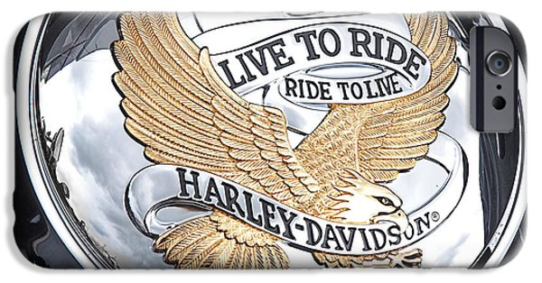 Close-up Photographs iPhone Cases - Harley Golden Eagle Emblem iPhone Case by Gill Billington