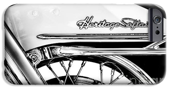 Abstract Retro iPhone Cases - Harley Heritage Softail Monochrome iPhone Case by Tim Gainey