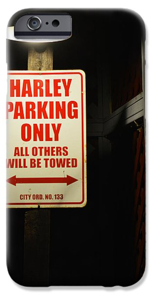 Old Town Temecula iPhone Cases - Harley Parking Only iPhone Case by Tommy Anderson