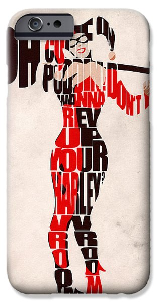 Character iPhone Cases - Harley Quinn iPhone Case by Ayse Deniz