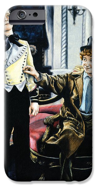 Film Drawings iPhone Cases - Harpo in The Cocoanuts iPhone Case by Edward Draganski