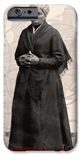 Abolition Digital Art iPhone Cases - Harriet Tubman The Underground Railroad 20140210v2 with text sepia iPhone Case by Wingsdomain Art and Photography