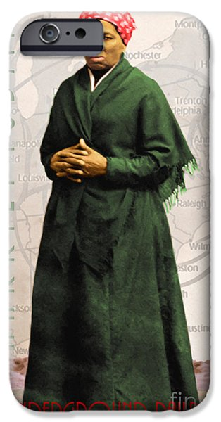 Abolition Digital Art iPhone Cases - Harriet Tubman The Underground Railroad 20140210v2 with text iPhone Case by Wingsdomain Art and Photography