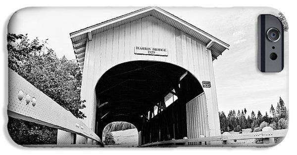Covered Bridge iPhone Cases - Harris Covered Bridge iPhone Case by Scott Pellegrin