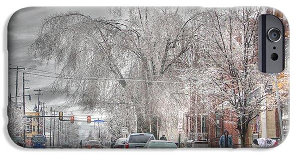 Winter Storm Digital iPhone Cases - Harrisburg on Ice iPhone Case by Lori Deiter