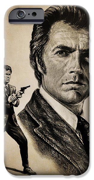 Character Portraits Drawings iPhone Cases - Harry Callahan  tan version iPhone Case by Andrew Read