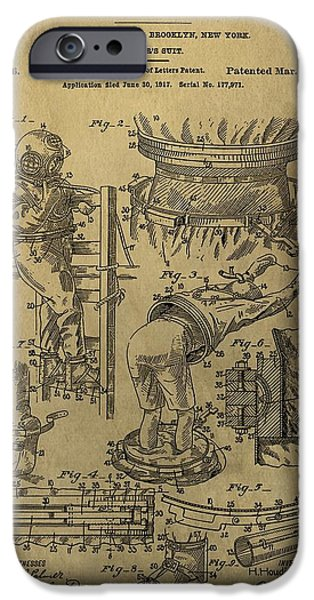 Escape iPhone Cases - Harry Houdinis Diving Suit Patent iPhone Case by Dan Sproul