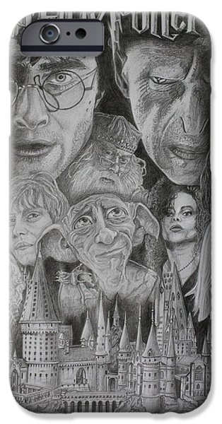 Montage Drawings iPhone Cases - Harry Potter Montage iPhone Case by Mark Harris