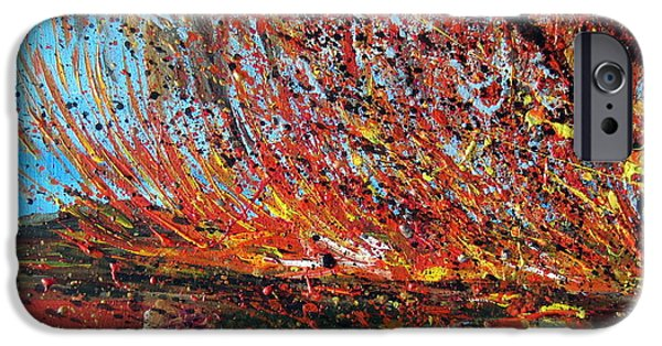 Roberto Paintings iPhone Cases - Harsh Desert Fire Australian Abstract iPhone Case by Roberto Gagliardi