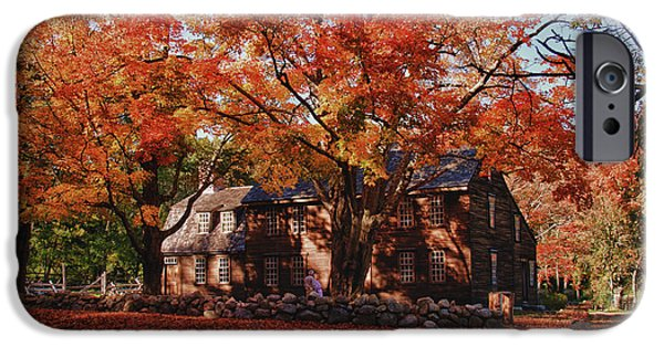 Concord Ma. iPhone Cases - Hartwell tavern under canopy of fall foliage iPhone Case by Jeff Folger