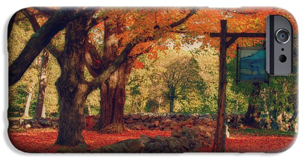 Concord Ma. iPhone Cases - Hartwell tavern under orange fall foliage iPhone Case by Jeff Folger