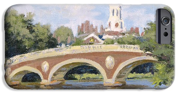 Cambridge Paintings iPhone Cases - Harvard Footbridge iPhone Case by Steven A Simpson