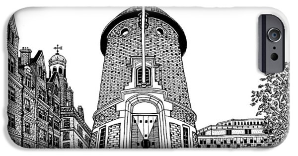 City. Boston Drawings iPhone Cases - Harvard Lampoon Building iPhone Case by Conor Plunkett