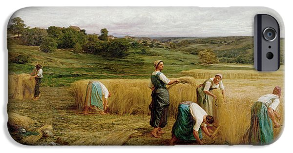 Agriculture iPhone Cases - Harvest, 1874 Oil On Canvas iPhone Case by Leon Augustin Lhermitte