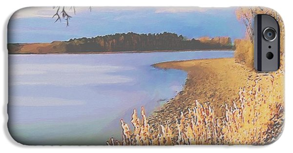 Autumn Scenes Pastels iPhone Cases - Harvest Lake iPhone Case by SophiaArt Gallery
